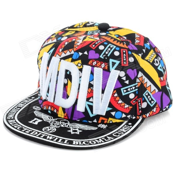 "WB-09241 ""MDIV"" Pattern Hip-Hop Style Four Seasons Hat - черный + Multi-Color"