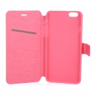 Silk Pattern Ultra-thin Protective Flip-Open PU Case w/ Stand / Card Slot for IPHONE 6 PLUS - Red
