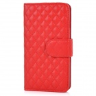 Protective Flip-Open Sheepskin Case Cover w/ Card / Money Slots for IPHONE 6 PLUS - Red