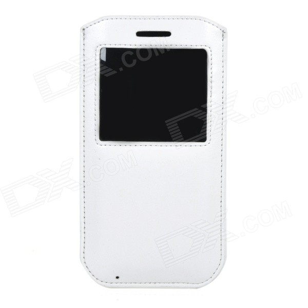 Protective PU Pouch Case w/ Pull Strap / View Window for IPHONE 6 PLUS - White