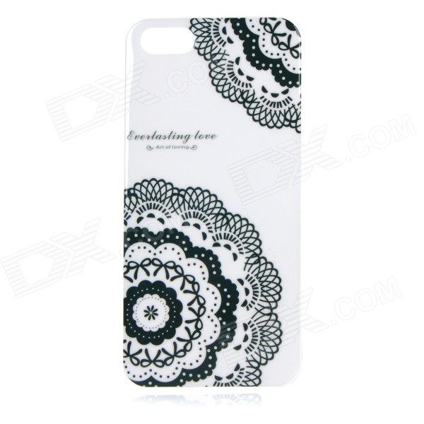Protective Patterned TPU Back Case Cover for IPHONE 5 / 5S - White + Black tpu imd patterned gel cover for iphone 7 4 7 inch dream catcher