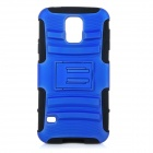 2-in-1 Protective Silicone + ABS Back Case w/ Holder for Samsung Galaxy S5 / i9600 - Black + Blue