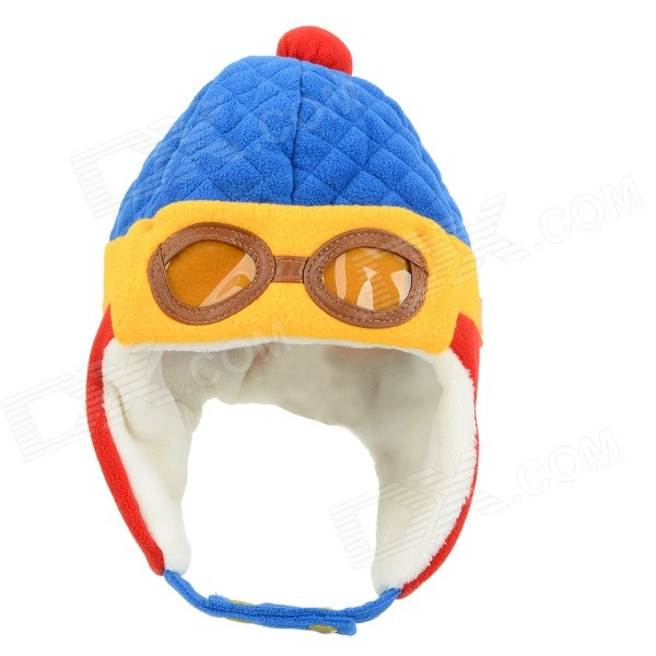 ZEA-MZ0924-1 Children's Winter Wear Cute Warm-keeping Cap Hat - Blue + Yellow