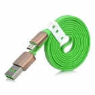 USB 2.0 to Micro USB Male Charging Data Flat Cable - Green (1m)