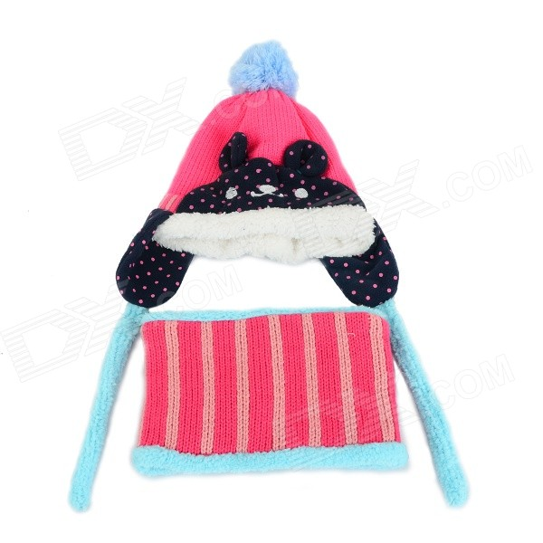 ZEA-RTM0911-1 Children's Panda Style Super Soft Autumn / Winter Wear Cap + Scarf Set - Deep Pink rtm la 602g