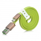 USB 2.0 to Micro USB Male Charging Data Flat Cable - Fruit Green (1m)