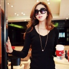YLY-DXH406-8861 Fashionable OL Style Round Neck Long Sleeves Dress - Black (L)