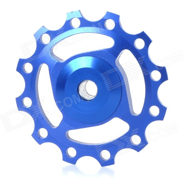 Bike Bicycle 12T Aluminum Alloy Wheels Rear Derailleur Pulley - Blue gineyea aluminum alloy bike seatpost clamp blue