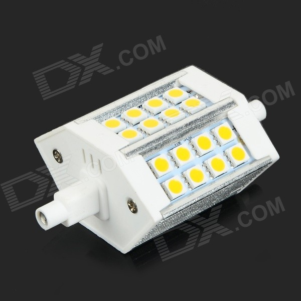 R7S 5W 330lm 2700K 24-SMD 5050 LED Warm White Light Lamp - White + Silver (AC 85~265V)