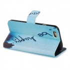 Protective Patterned Flip-Open PU Case w/ Stand + Card / Money Slots for IPHONE 6 - Blue + Black