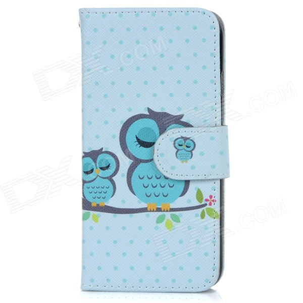 Owl Patterned Protective Flip-Open PU Case w/ Stand + Card / Money Slots for IPHONE 6 - Light Blue kinston art figure pattern pu leather full body case w stand for iphone 6 4 7 white grey