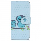 Owl Patterned Protective Flip-Open PU Case w/ Stand + Card / Money Slots for IPHONE 6 - Light Blue