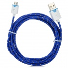 Micro USB Male to USB Male Data/Charging Sync Nylon Cable - Deep Blue (298cm)