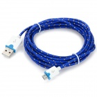Micro USB M to USB M Data Charging Nylon Cable - Deep Blue (298cm)
