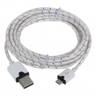 Micro USB M to USB M Braided Nylon Charging Cable - White + Black (3m)