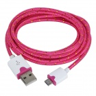 Micro USB Male to USB Male Braided Round Nylon Charging Data Cable - Deep Pink + White (2m)