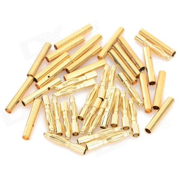 2.0mm Gold Plated Banana Plug Jack Connector Set - Golden (20 Pairs) gold plated loudspeaker cable banana plugs connectors black golden 5 pcs