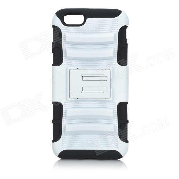 Detachable Plastic + ABS Back Case w/ Stand for IPHONE 6 4.7 - White + Black love heart pattern abs back case w led flash light for iphone 6 4 7 black white
