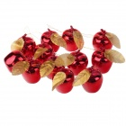 Christmas Gold-plated Apple Pendants Decorations - Red (12 PCS)