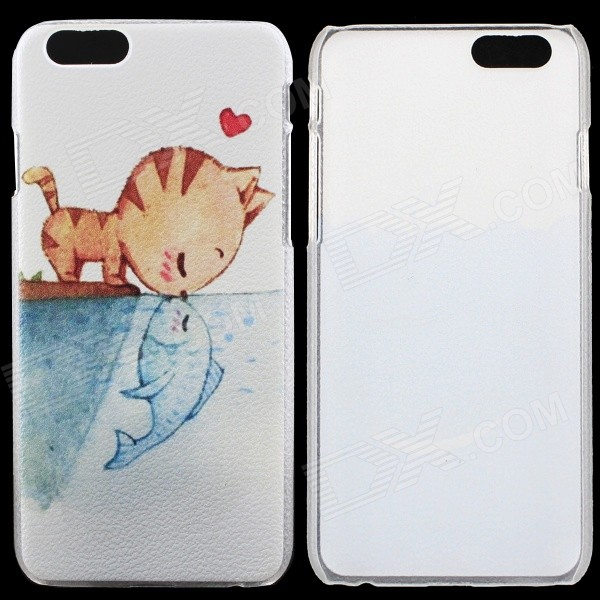 Kiss Cat Pattern Thin Protective Back Cover Case for 4.7 IPHONE 6 - White + Blue + Multicolored пленка защитная red line для iphone 4 дерево