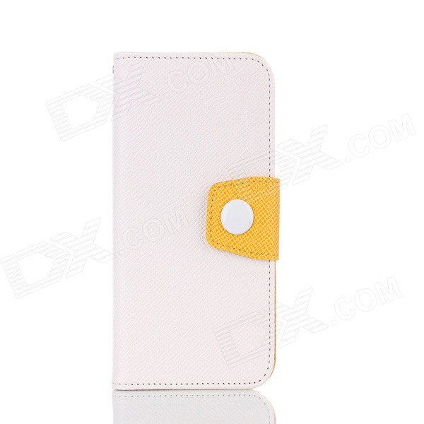 Flip-open TPU + PU Leather Protective Case w/ Card Slot + Holder for IPHONE 6 - White inew v1 5 0 mt6582 quad core wcdma android 4 4 phone w wi fi gps 1gb ram 8gb rom white