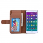 Wallet Style PU Leather Case w/ Holder for Samsung Note 4 - Brown