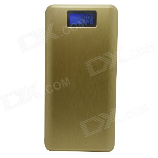 J-013 Universal Dual USB 12,000mAh Li-Polymer Power Bank w/ LCD Display + Torch - Golden + White