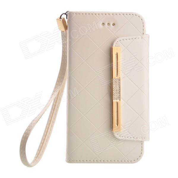retourner-open PU + TPU Housse de protection w / Strap + Auto Sleep pour IPHONE 6-Blanc