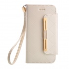 Flip-open PU + TPU Protective Case w/ Strap + Auto Sleep for IPHONE 6 - White
