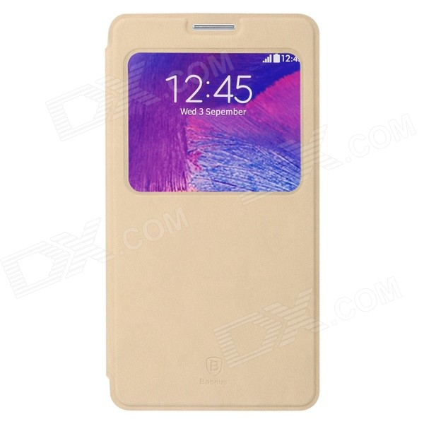цена Baseus Terse PU Leather Case w/ Holder + Window for Samsung Galaxy Note 4 - Khaki онлайн в 2017 году