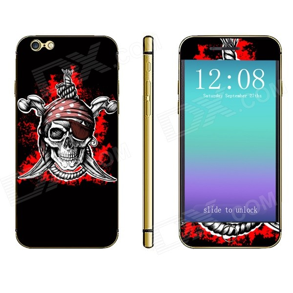 Stylish Pirate Skull Pattern Front + Back Decorative Sticker Set for IPHONE 6 PLUS 5.5 - Black