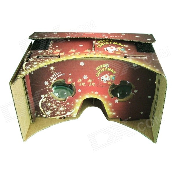 Chrismas Themed Pattern DIY Google Virtual Reality Cardboard w/ Resin Lens Set - Red