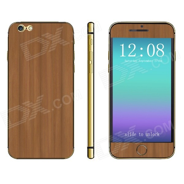 Protective Wood Pattern Front + Back Decorative Stickers Set for IPHONE 6 4.7