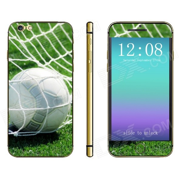 Stylish Football Pattern Front + Back Decorative Stickers Set for IPHONE 6 4.7 - Green + White