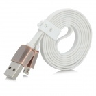 USB 2.0 to Micro USB Male Charging Data Flat Cable - White (1m)