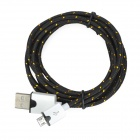 USB Male naar Micro USB Male Gegevens Charging Nylon Cable - Zwart (2m)