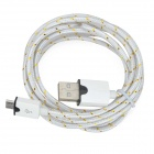 USB Male to Micro USB Male Data Charging Nylon Cable - White (2m)