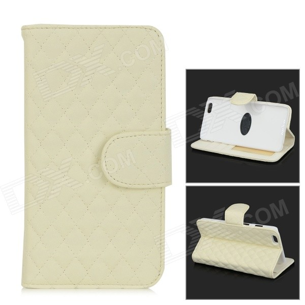 Protective Flip-Open Sheepskin Case w/ Card / Money Slots for IPHONE 6 PLUS - White enkay protective tpu back case cover w stand for samsung galaxy note 4 n9100 green