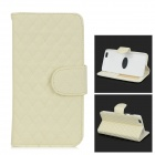 Protective Flip-Open Sheepskin Case w/ Card / Money Slots for IPHONE 6 PLUS - White