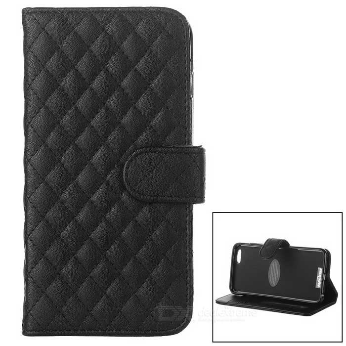 Protective Flip-Open Sheepskin Case w/ Card / Money Slots for IPHONE 6 PLUS - Black protective flip open pu case w stand card slots for samsung galaxy s4 active i9295 black