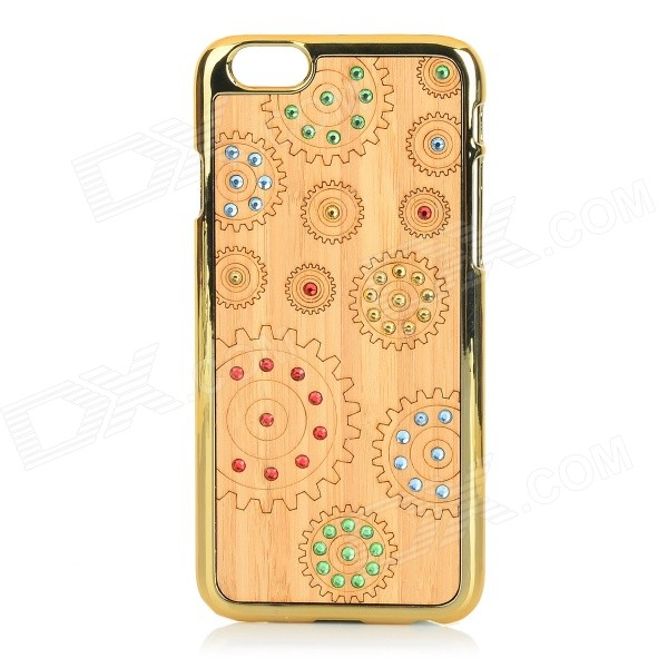 Protective Rhinestone-studded Plastic + Wood Back Case Cover for IPHONE 6 - Gold + Beige protective alloy horse decoration rhinestone studded back case for iphone 5 white transparent