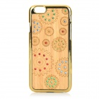 Protective Rhinestone-studded Plastic + Wood Back Case Cover for IPHONE 6 - Gold + Beige