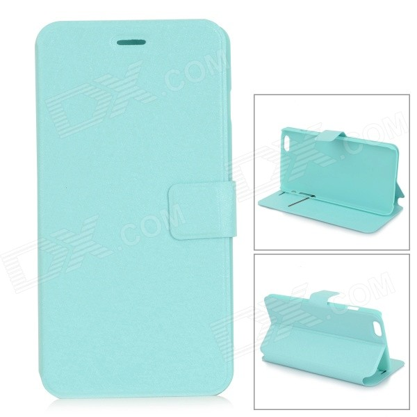 Silk Pattern Ultra-thin Flip-Open PU Leather Case w/ Stand for IPHONE 6 PLUS - Light Green ultra thin 7 touch screen lcd wince 6 0 gps navigator w fm internal 4gb america map light blue