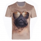 XINGLONG Men's 3D Printing Animal Dog Pattern Round Neck T-shirt - Sand Yellow + Multi-Color (L)
