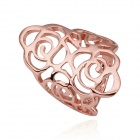 Women's Hollow-Out Flower Shaped Gold Plating Ring - Rose Golden (Size 8)