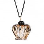 eQute Luxurious Vintage Crown Pendant Necklace for Women - Golden