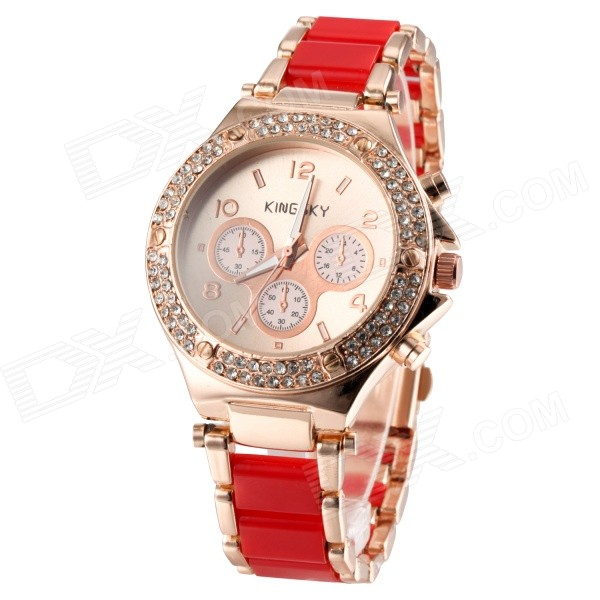 KINGSKY Women's Elegant Zinc Alloy Band Digital Display Quartz Watch - Red + Golden (1x 377)