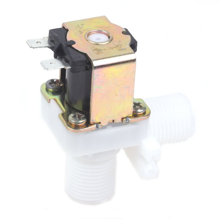 ZnDiy-BRY FPD-270A 12V DC 1/2 Plastic Solenoid Water Valve - Black + White 1 2 built side inlet floating ball valve automatic water level control valve for water tank f water tank water tower