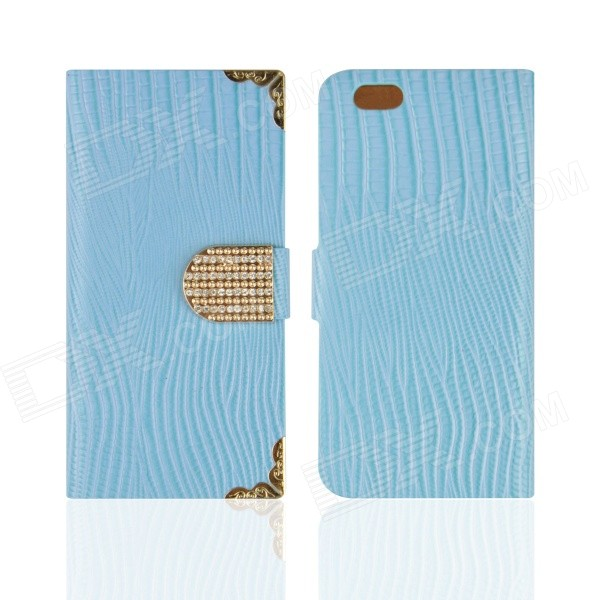 Angibabe Protective Stylish Flip Open PU Case w/ Card Slots for IPHONE 6 - Blue angibabe snake skin pattern flip open pu leather case with card slots for iphone 6 4 7 pink