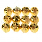 Christmas Gold-Plated Plastic Apple Hanging Decoration - Gold (12pcs)